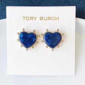 Tory Burch-blue heart earrings